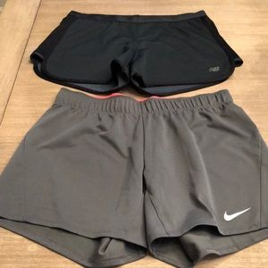 2 Pairs Athletic Shorts - Nike & New Balance MED